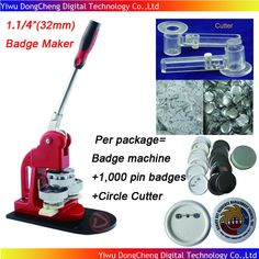 """1.1/4""""(32mm) Badge Button Machine + Adjust Circle Cutter+1,000 Plastic Pin Badge Material,Free Shipping"""