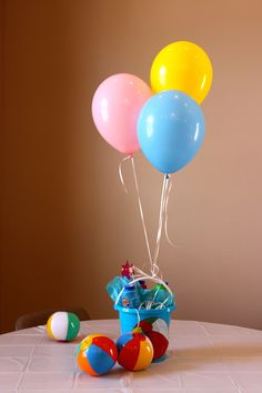 Pool Party Centerpiece Ideas 208 best images about beach pool summer surf party ideas on pinterest beach cakes kids beach party and beach ball birthday Table Centerpieces Bucket With Bubbles And Balloons
