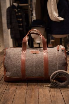 Feltman Suitcase and Weekender Brown Felt and Brown Leather bag