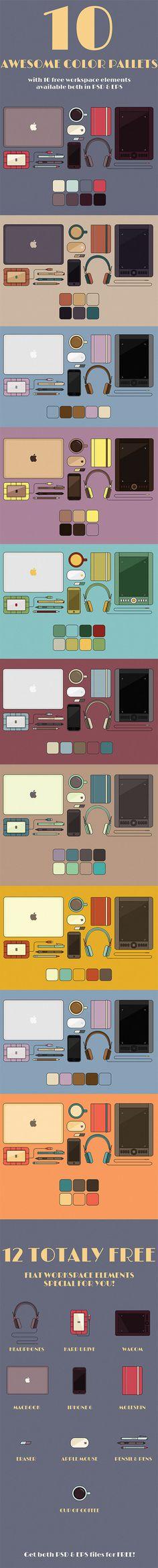 FREE 10 Flat Workspace Elements & Color Palettes on Behance