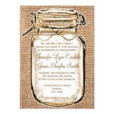 Rustic Country Mason Jar Burlap Wedding Invitation