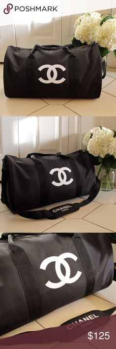 """Authentic Chanel Vip Gift Gym Duffle Bag CHANEL VIP GIFT TRAVEL BAG GYM BAG CROSS BODY BAG SHOULDER BAG -NEW New in original packaging. Authentic VIP Gift given when you make a certain amount purchase to qualify for their free gift offers. This was a VIP gift from Chanel Beaute corner, does NOT come with hologram sticker, serial number or tags. Dimensions L 48cm X H 32cm In inches L 19"""" X H 13"""" CHANEL Bags Travel Bags"""