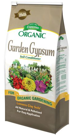 Espoma Organic Gypsum   Espoma Garden Gypsum SOIL CONDITIONER Espoma Garden Gypsum is an all natural mineral that can help loosen clay soils, minimize salt damage to plants, and help promote root growth.