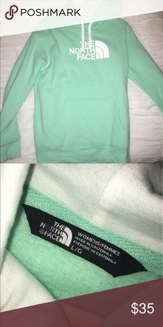 North Face Hoodie Super comfy hoodie! Gorgeous mint green color, with soft fleece lining. Great for the fall or winter, or chilly summer nights. North Face Tops Sweatshirts & Hoodies