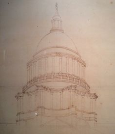 Perspective of a dome for St Paul's on a concave octagonal podium, influenced by Borromini, Christopher Wren 1675