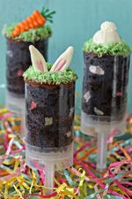 Easter Cake Push Pops - moist chocolate cake and frosting, topped with cute bunny ears and carrots! Easy Easter Desserts, Easter Treats, Easter Recipes, Hoppy Easter, Easter Eggs, Easter Food, Easter Bunny, Easter Dinner, Easter Party