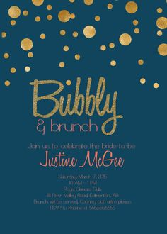 Check out this classy Printable Navy Blue, Coral and Gold Champagne Brunch bridal shower Invitation on Etsy by Glass Slipper Designs #navyandcoralwedding #champagnebrunch #bridalshower