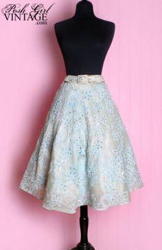 1940's Ice Blue Beaded Full Skirt