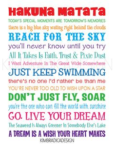 Disney Inspirational Movie Quotes Subway Art, 11x14 Multi-Colored Digital Print on Etsy, $15.00