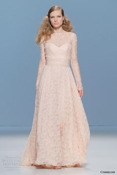 cymbeline 2015 bridall peach lace wedding dress illusion long sleeves #blushweddingdress #weddings #weddingdress