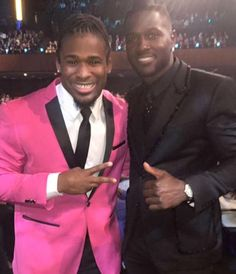 Me and AB at NFL Honors. Next year we won't be able to make it because we'll be preparing for the Super Bowl! Deangelo Williams, Nfl Playoffs, Super Bowl, Abs, Suit Jacket, Fashion, Moda, Fashion Styles, Abdominal Muscles