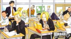 oh my gosh so many things here ED AND LING EATING IN CLASS AND THEIR UNIFORMS ARE ALL MESSY MAY BEING A SQUIGGLY GLASSES NERD GANGSTA OLIVIER WITH HER FEET ON THE DESK PANINYA SLEEPING LAN FAN CREEPING LOVE IT  HANDSOME ALPHONSE WINRY ADMIRING THE BACK OF AL'S HEAD ROY PRETENDING THAT HE HAS EVERYONE'S ATTENTION RIZA THE SCHOOL NURSE