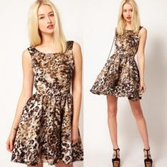 OFFER!✨Stylestalker TeenRiot Silky Skater Dress Skater dress with a cinched waist and pleated skirt; animal print pattern; back zipper closure on skirt and back snap button closure on top; shell 100% polyester; lining 100% cotton. ✨As seen on English songstress Pixie Lott✨ Stylestalker Dresses