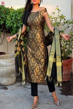 Buy Black Brocade Padded off Shoulder Kurta with Pants and Dupatta Online in India Silk Kurti Designs, Simple Kurta Designs, Churidar Designs, Kurta Designs Women, Kurti Designs Party Wear, Sleeves Designs For Dresses, Dress Neck Designs, Stylish Dress Designs, Stylish Dresses
