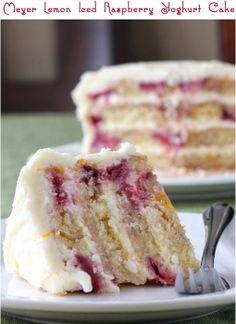 Meyer Lemon Iced Raspberry Yoghurt cake.