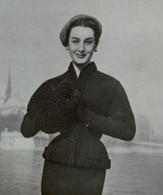 Couture Allure Vintage Fashion: Wear a Fur Muff with Your Vintage Suit - 1954