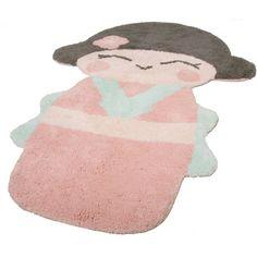 Tapis Nattiot en coton lavable en machine rose Oki-Koko