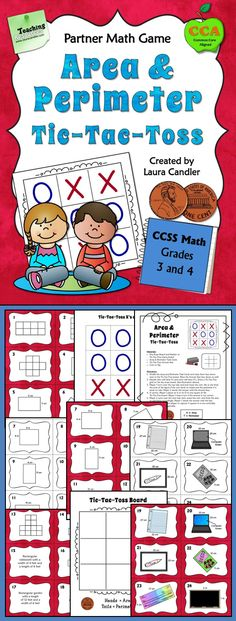 Area and Perimeter Tic-Tac-Toss math game. Students choose a card and flip a coin to find out if they need to calculate the area or perimeter. Includes customary and metric measurement task cards. Awesome review and math center game! $