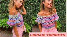 Learn To Crochet, Diy Crochet, Crochet Top, Crochet Shorts, Crochet Clothes, Crochet Diagram, Crochet Patterns, Crochet Summer Tops, Crochet Woman