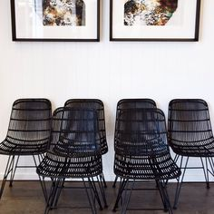 Modern dining.  A flock of chairs in our Burleigh showroom.  New pieces from Morocco and beyond now on display. #global #modern #interior #StBarts