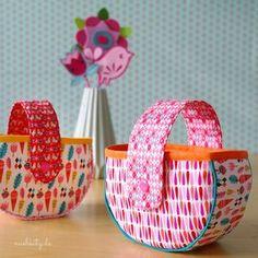 Genähtes Osterkörbchen aus Stoff und Kam Snaps