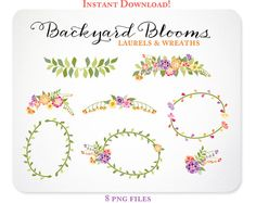 Hand Drawn Flowers Laurels and Wreaths Clipart  by KellyJSorenson, $5.00