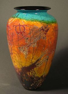 Featured Artists» RICHARD SATAVA » Blown Glass Vases » Petroglyph Sapphire. Petroglyph Sapphire.