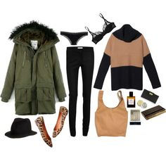 A fashion look from January 2013 featuring oversized sweaters, hooded coats and black pants. Browse and shop related looks.