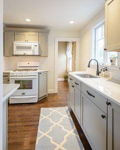 kitchen - martha stewart cabinets ocean floor color, dark hardware