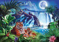 Diamond Painting Forest Falls Moon Tiger Paint with Diamonds Art Crystal Craft Decor Tiger Painting, Diy Painting, Forest Falls, Tiger Pictures, 5d Diamond Painting, Cross Paintings, Diamond Art, Creative Activities, Moon Art