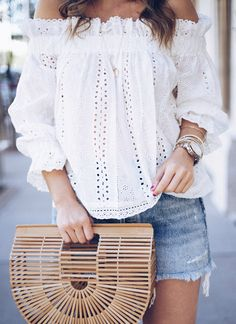 eyelet OTS top | #OOTD by Houston Fashion Blogger @_Anna_English on Instagram!