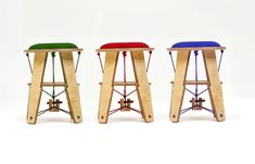 The modern Rope Stool takes inspiration from the most widely used drum in Korean traditional music, the janggu. Free of adhesives and screws, the raw design is held together with tension created by just 3 ropes and a single dowel. Designer: Minki Kim