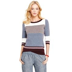 Tommy Hilfiger women's sweater. nbsp;A sweater goes from simple to chic thanks to a fetching foulard and graceful bateau neckline. A touch of cashmere is icing on the cake. nbsp;br/• Slim fit.br/• 95% cotton, 5% cashmere.br/• ¾ sleeves, Hilfiger microplaque at cuff.br/• Machine washable.br/• Imported.br/