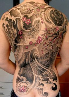 _ cherry blossoms, koi, phoenix and water full back tattoo _