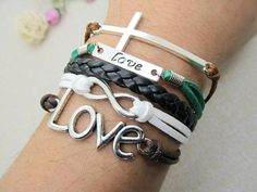 Bracelet  Silvery cross and Love Infinity cuff by Richardwu, $6.99