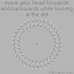 Move your head forward and backward while looking at the dot.