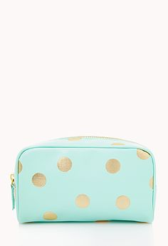 Metallic Polka Dot Cosmetic Bag // F21. Need something like this to coral all her little accessories when we travel.