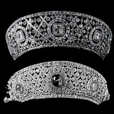 Two Cartier kokoshnics for the price of one. On top, the gorgeous diamond lattice tiara, with five large square-cut diamonds set in circular motifs; once worn by Grace Vanderbilt. On the bottom, the diamond lattice and cabochon sapphire tiara once worn by Tsarina Maria Alexandrovna of Russia.... which didn't make it into the Grand Duchess Vladimir's collection, so she had Cartier make another one for her.