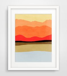 Minimalist Art Print of Mountains, Abstract Landscape Art, Mid Century Modern Poster - Red, orange, yellow