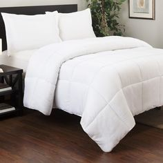 Twin XL size duvet insert for an extra long duvet cover. This comforter goes inside your duvet cover, features extra fully down alternative filling, and anti-fill shifting design to help prevent the formation of cold spots. Down Comforter, King Comforter Sets, Duvet Sets, Twin Xl Mattress, First Apartment Decorating, Beds Online, Bedding Shop, White Bedding