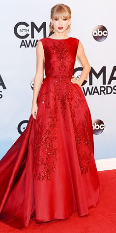 STYLE FILES:: RED CARPET, CLASSIC RED ~~ Taylor Swift in ELIE SAAB steals the show again! STUNNING dress!! Love the loose updo and classic red lip - Look of the Day - InStyle @InStyle Magazine