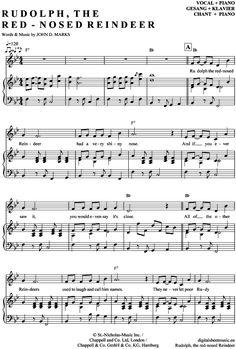 Rudolph the red-nosed Reindeer (Klavier + Gesang) Weihnachts-Pop / Christmas-Song [PDF Noten] >>> KLICK auf die Noten um Reinzuhören <<< Noten und Playback zum Download für verschiedene Instrumente bei notendownload Blockflöte, Querflöte, Gesang, Keyboard, Klavier, Klarinette, Saxophon, Trompete, Posaune, Violine, Violoncello, E-Bass, und andere ...