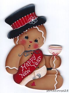"HP GINGERBREAD ""Happy New Year"" FRIDGE MAGNET #Handpainted"