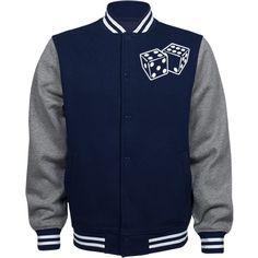 Letterman jacket | cute dice design fleece jacket