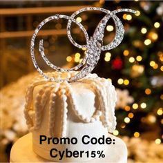 Cyber Monday Specials!  15% off of all cake topper orders!    Use promo code: Cyber15 at checkout. Cyber Monday Specials, Monogram Cake Toppers, Let Them Eat Cake, Wedding Accessories, Crochet Earrings, Mosaic, Sparkle, Bridal, Christmas Ornaments