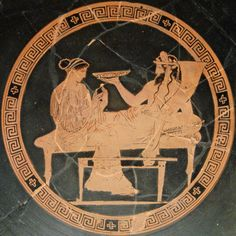 Kore-Persephone and Pluton-Aidoneus;  Attic red-figured kylix, ca. 440-430 BC