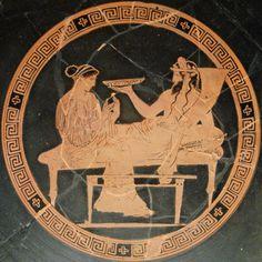 Kore-Persephone and Pluton-Aidoneus;  Attic red-figured kylix, ca. 440-430 BC