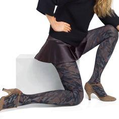 LE BOURGET Collant Craft Fashion en voile 50 deniers à imprimé.