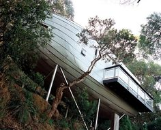 """Home on stilts. """"Using engineering techniques employed in building strong rigid curves into the framework of wood boats and aircraft hulls, this unique tree house is at once cutting-edge and curiously eccentric."""" Yeah, it is! But awesome. More photos at the source."""
