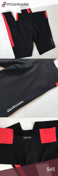 Calvin Klein yoga pants size xtra small EUC! Black and pink Calvin Klein yoga pants, great for working out or just wearing around. Good running pants. The cuffs at the end can be worn flipped up or down. Super super cute! ••••Bundle & Save•••• Calvin Klein Pants Leggings